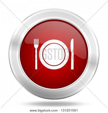 restaurant icon, red round metallic glossy button, web and mobile app design illustration