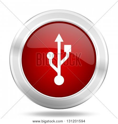 usb icon, red round metallic glossy button, web and mobile app design illustration