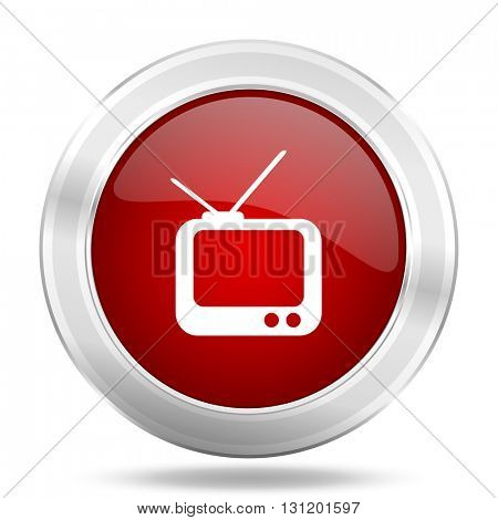 tv icon, red round metallic glossy button, web and mobile app design illustration