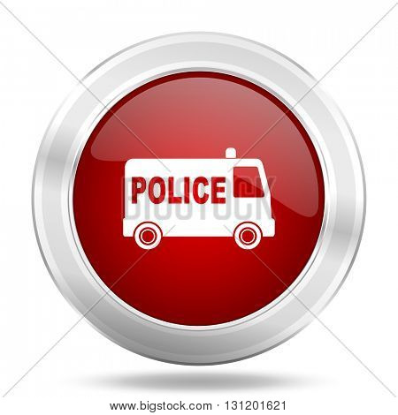 police icon, red round metallic glossy button, web and mobile app design illustration