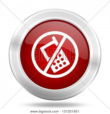 no phone icon, red round metallic glossy button, web and mobile app design illustration