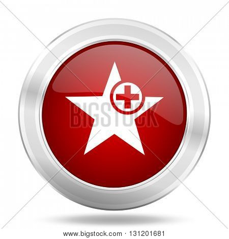 star icon, red round metallic glossy button, web and mobile app design illustration