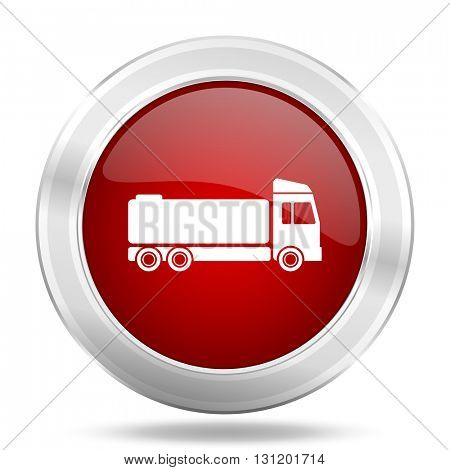 truck icon, red round metallic glossy button, web and mobile app design illustration