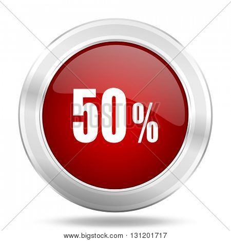 50 percent icon, red round metallic glossy button, web and mobile app design illustration