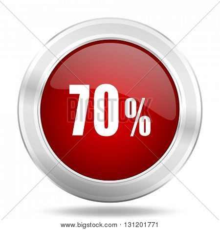 70 percent icon, red round metallic glossy button, web and mobile app design illustration