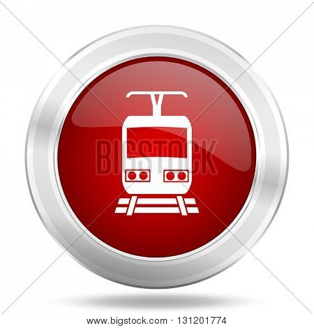 train icon, red round metallic glossy button, web and mobile app design illustration