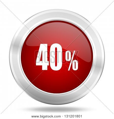 40 percent icon, red round metallic glossy button, web and mobile app design illustration