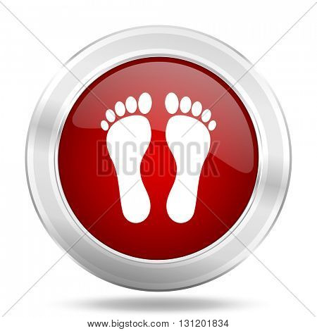 foot icon, red round metallic glossy button, web and mobile app design illustration