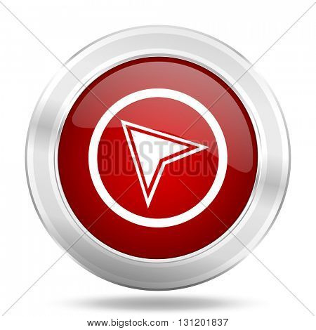 navigation icon, red round metallic glossy button, web and mobile app design illustration