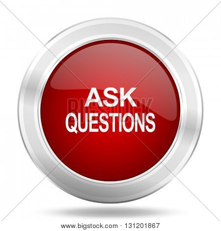 ask questions icon, red round metallic glossy button, web and mobile app design illustration