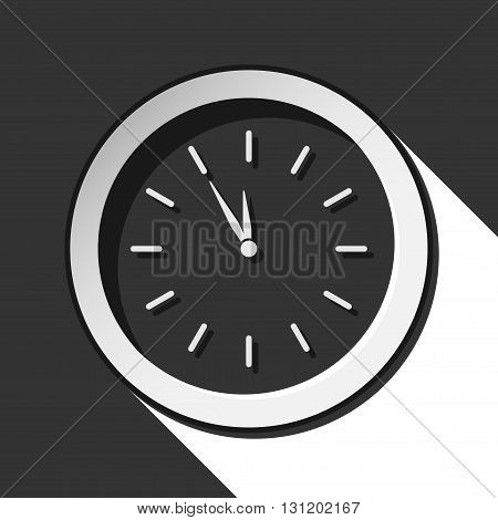 black icon - last minute clock with white stylized shadow