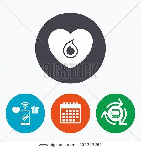 Blood donation sign icon. Medical donation. Heart with blood drop. Mobile payments, calendar and wifi icons. Bus shuttle.