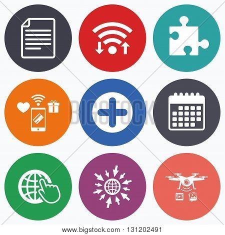 Wifi, mobile payments and drones icons. Plus add circle and puzzle piece icons. Document file and globe with hand pointer sign symbols. Calendar symbol.