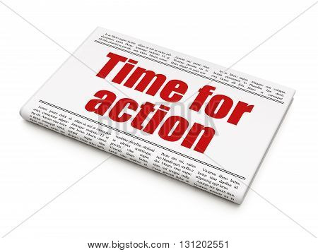 Time concept: newspaper headline Time For Action on White background, 3D rendering