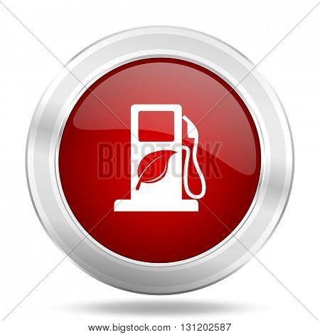 biofuel icon, red round metallic glossy button, web and mobile app design illustration