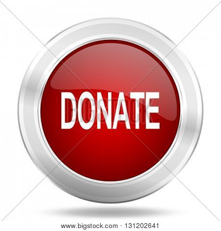 donate icon, red round metallic glossy button, web and mobile app design illustration