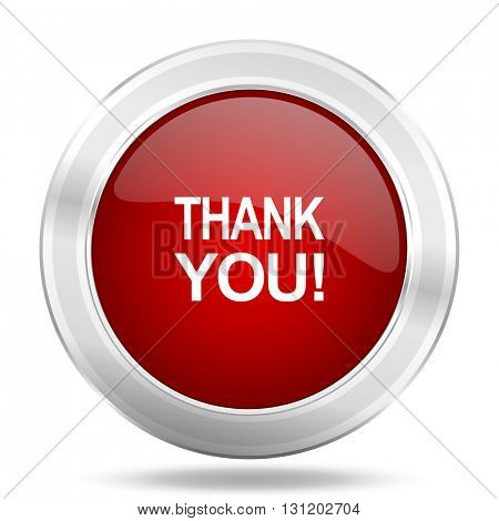thank you icon, red round metallic glossy button, web and mobile app design illustration