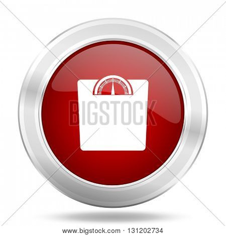 weight icon, red round metallic glossy button, web and mobile app design illustration