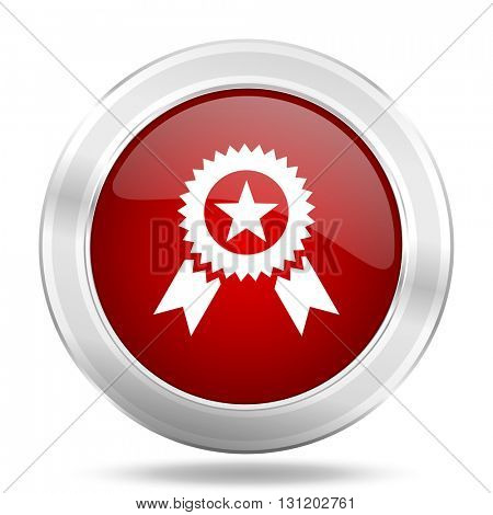 award icon, red round metallic glossy button, web and mobile app design illustration
