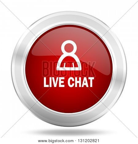 live chat icon, red round metallic glossy button, web and mobile app design illustration