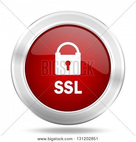 ssl icon, red round metallic glossy button, web and mobile app design illustration