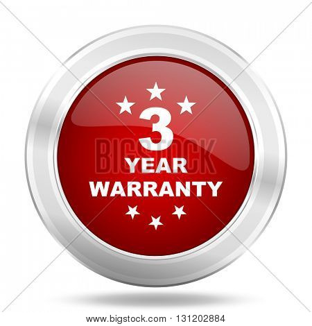 warranty guarantee 3 year icon, red round metallic glossy button, web and mobile app design illustration