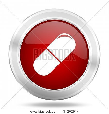 drugs icon, red round metallic glossy button, web and mobile app design illustration