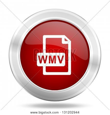 wmv file icon, red round metallic glossy button, web and mobile app design illustration