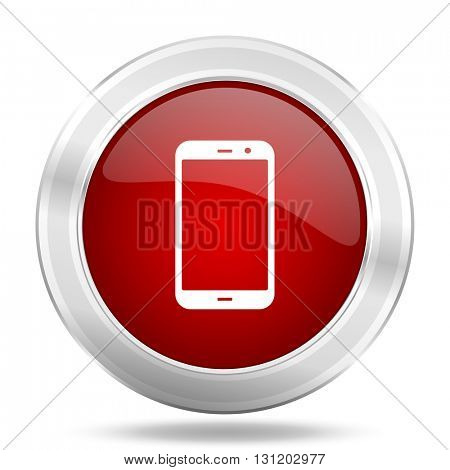 smartphone icon, red round metallic glossy button, web and mobile app design illustration