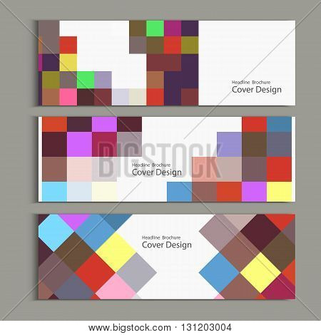Banner template design with squares and rectangles.