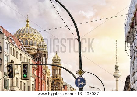 Synagogue Berlin And Tv Tower With Traffic Light In Front