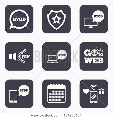 Mobile payments, wifi and calendar icons. BYOD icons. Notebook and smartphone signs. Speech bubble symbol. Go to web symbol.