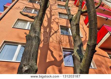 Hdr Shot Of A House With Trees In Front In Berlin Kreuzberg