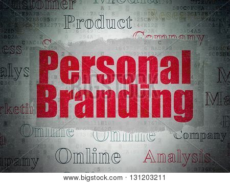 Advertising concept: Painted red text Personal Branding on Digital Data Paper background with   Tag Cloud