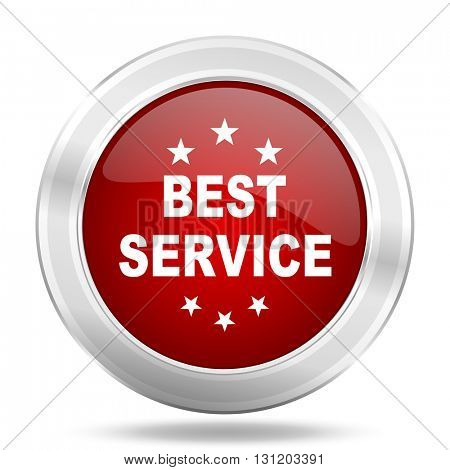 best service icon, red round metallic glossy button, web and mobile app design illustration