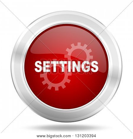 settings icon, red round metallic glossy button, web and mobile app design illustration