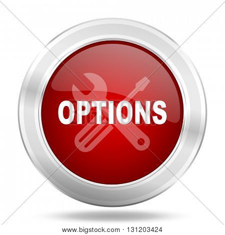 options icon, red round metallic glossy button, web and mobile app design illustration