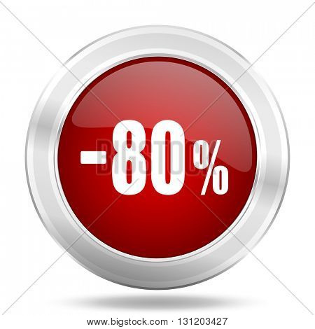 80 percent sale retail icon, red round metallic glossy button, web and mobile app design illustration