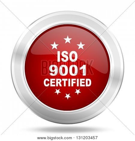 iso 9001 icon, red round metallic glossy button, web and mobile app design illustration