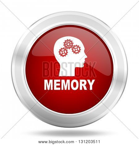 memory icon, red round metallic glossy button, web and mobile app design illustration