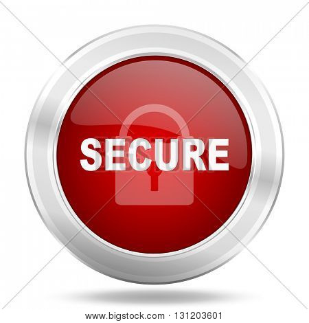secure icon, red round metallic glossy button, web and mobile app design illustration