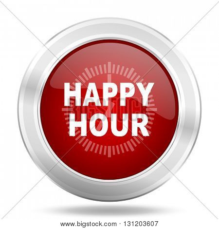 happy hour icon, red round metallic glossy button, web and mobile app design illustration