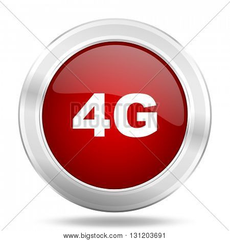 4g icon, red round metallic glossy button, web and mobile app design illustration