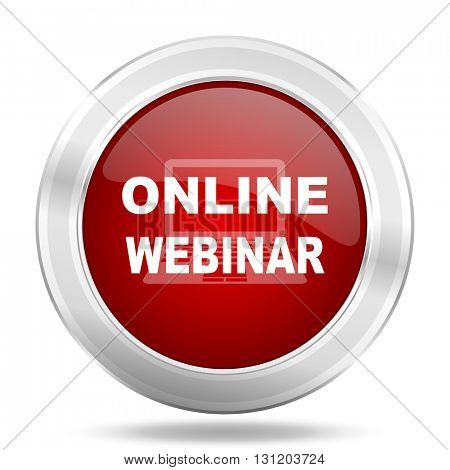online webinar icon, red round metallic glossy button, web and mobile app design illustration