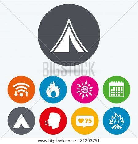 Wifi, like counter and calendar icons. Tourist camping tent icons. Fire flame sign symbols. Human talk, go to web.