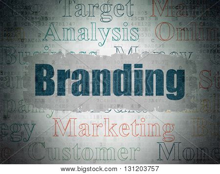 Advertising concept: Painted blue text Branding on Digital Data Paper background with   Tag Cloud
