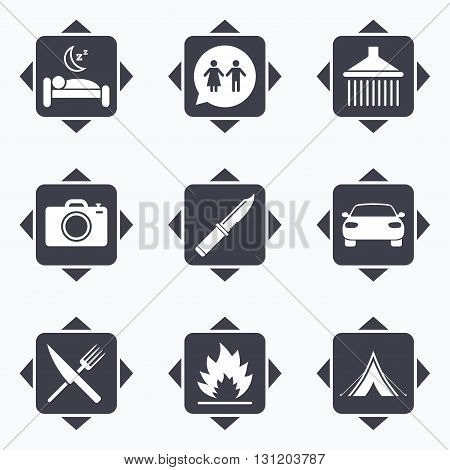 Icons with direction arrows. Hiking trip icons. Camping, shower and wc toilet signs. Tourist tent, fork and knife symbols. Square buttons.