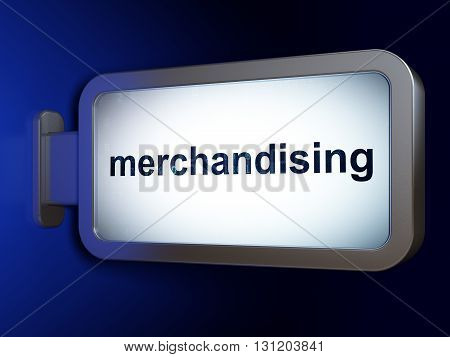 Marketing concept: Merchandising on advertising billboard background, 3D rendering