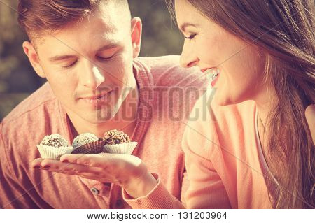 Couple On Date With Cupcakes.