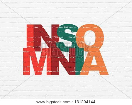 Healthcare concept: Painted multicolor text Insomnia on White Brick wall background